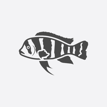 large cichlid: Frontosa Cichlid Cyphotilapia Frontosa fish icon black simple. Singe aquarium fish icon from the sea,ocean life collection - stock vector