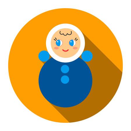 vaso de precipitado: Roly Poly plana del icono del juguete. Un icono de una colección grande de los juguetes. Vectores