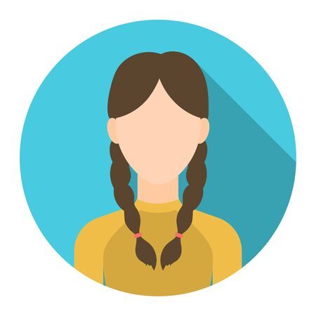 Braids icon flat. Single avatar,people icon from the big avatar collection - stock vector