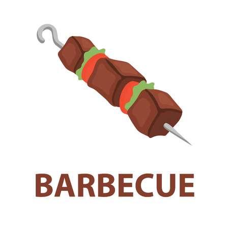 Barbecue vector icon cartoon style. Singe bad food icon from the fast food set - stock vector