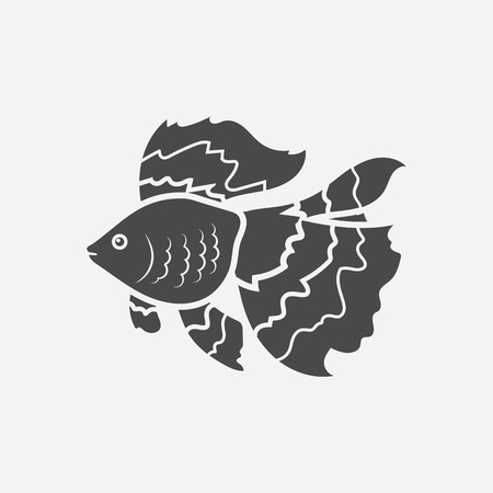 gold fish: Gold fish icon black simple. Singe aquarium fish icon from the sea,ocean life collection - stock vector