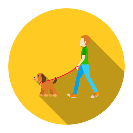 dog to walk: Dog walk vector icon flat style. Singe pet icon from the big dog collection - stock vector Illustration