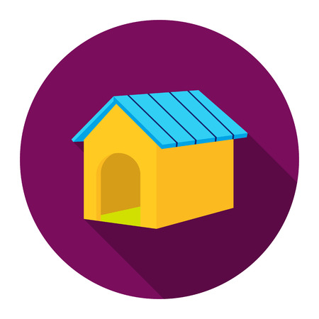 big dog: Doghouse vector icon flat style. Singe pet icon from the big dog collection - stock vector