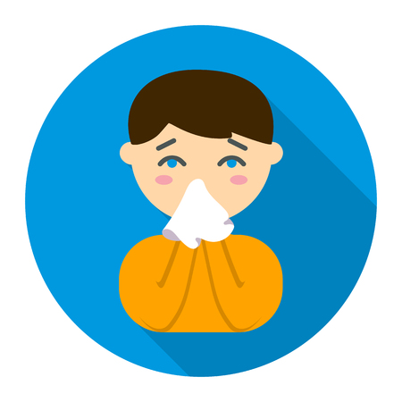 running nose: Running nose icon flat style. Single sick icon from the big ill, disease collection - stock vector
