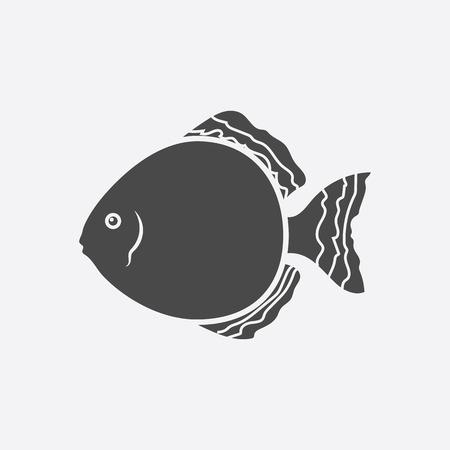 cichlid: Discus fish icon black simple. Singe aquarium fish icon from the sea,ocean life collection - stock vector