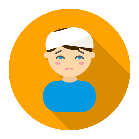 head injury: Head injury icon flat style. Single sick icon from the big ill, disease collection - stock vector Illustration
