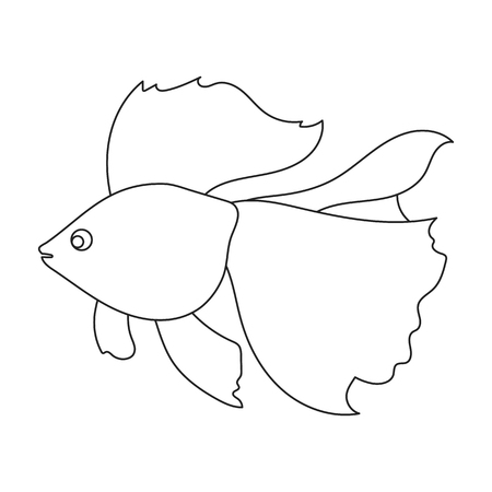 Gold fish icon line. Singe aquarium fish icon from the sea,ocean life collection.