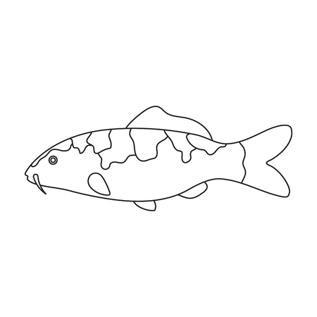hokusai: Carp-koi fish icon line. Singe aquarium fish icon from the sea,ocean life collection.