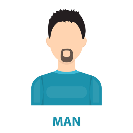 actual: Man with a beard icon cartoon. Single avatar,peaople icon from the big avatar collection.