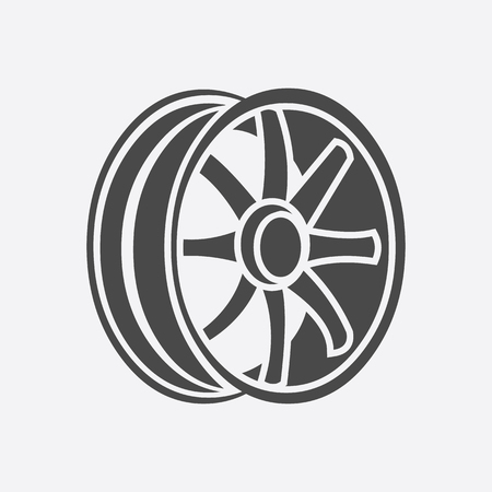 rims: Car rims icon style. Single silhouette auto parts icon from the big car set - stock vector