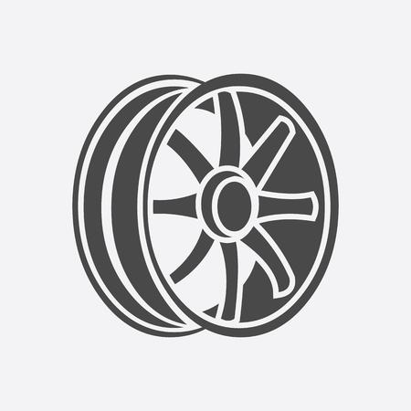 jantes de voiture icône de style. Simple silhouette pièces auto icône dans le grand jeu de voiture - Image vectorielle