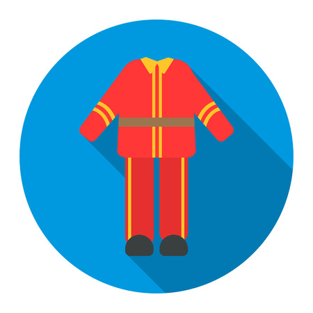 firefighter uniform: Firefighter uniform icon flat style. Single silhouette fire equipment icon from the big fire Department flat.