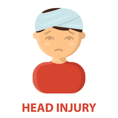 head injury: Head injury icon cartoon. Single sick icon from the big ill, disease collection.