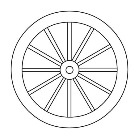 Cart-wheel icon lijn. Singe westerse icoon uit het wilde westen collectie.