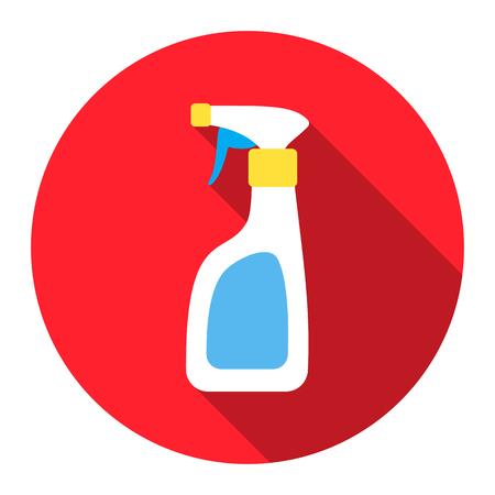 lavar platos: Spray limpiador icono plana. Ilustración para la web y móvil. Vectores