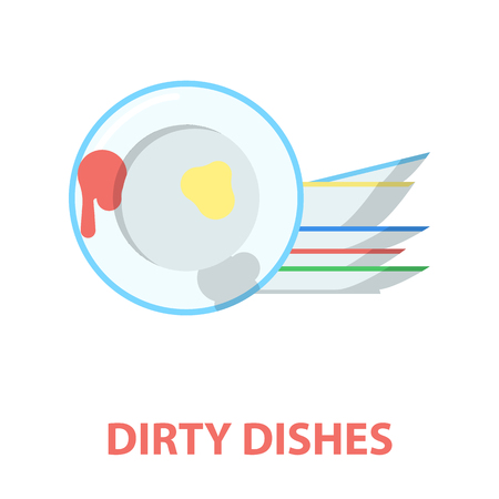 Dirty dishes cartoon icon. Illustration for web and mobile.