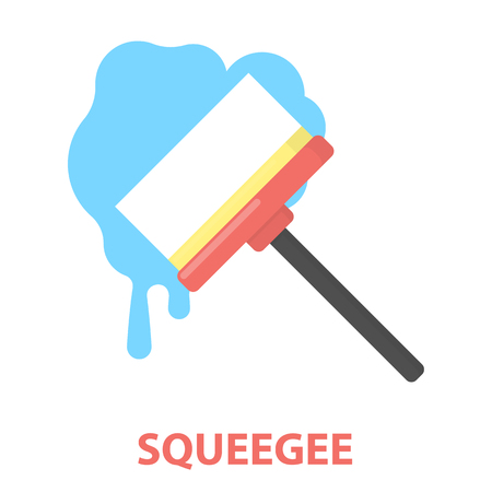 squeegee: Squeegee cartoon icon. Illustration for web and mobile.