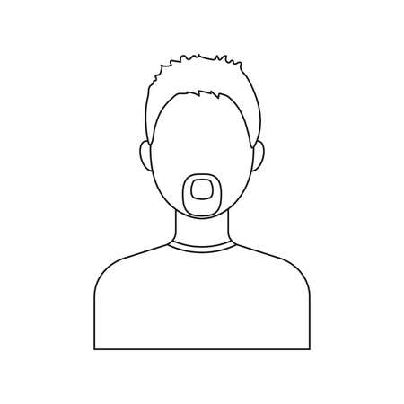 actual: Man with a beard icon line. Single avatar,peopleicon from the big avatar line. Illustration
