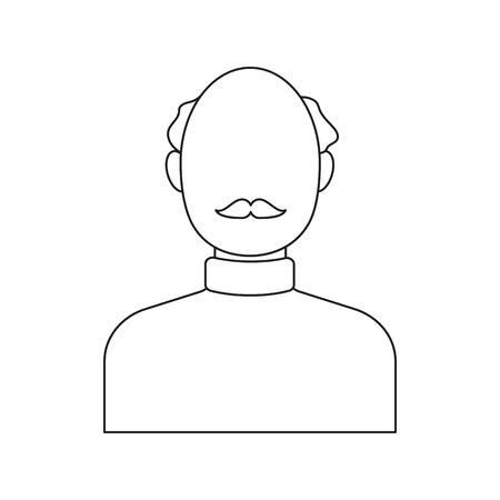 head and shoulder: Bald head icon line. Single avatar,peopleicon from the big avatar line. Illustration