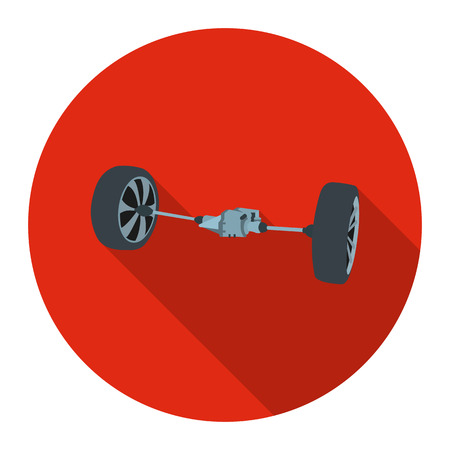 treads: Front car suspension icon flat style. Single silhouette auto parts icon from the big car flat - stock vector Illustration