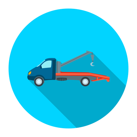stock car: Car evacuator icon flat style. Single silhouette auto parts icon from the big car flat - stock vector