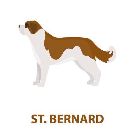bernard: St. Bernard dog vector illustration icon in cartoon design