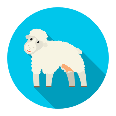 Sheep icon flat. Single bio, eco, organic product icon from the big milk collection.