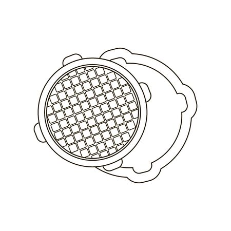 canalization: Open metal manhole icon line. One icon of a large plumbing line.