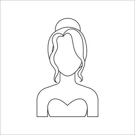 prom queen: Blonde icon line. Single avatar,peopleicon from the big avatar line. Illustration