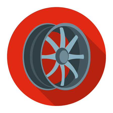 rims: Car rims icon flat style. Single silhouette auto parts icon from the big car flat - stock vector