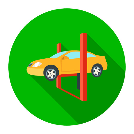 Repairing a car lifted on auto hoist icon flat. Single car repair symbol. Illustration
