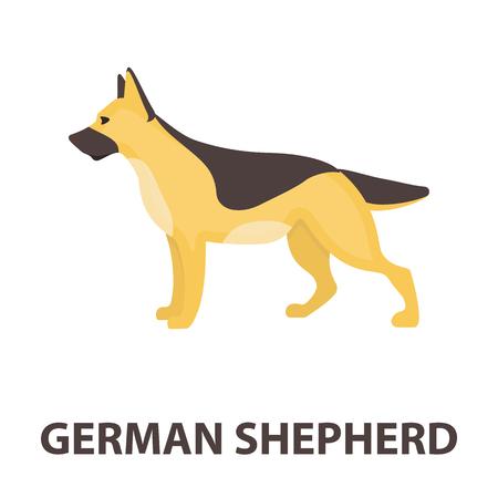 alsatian: German shepherd vector illustration icon in cartoon design Illustration