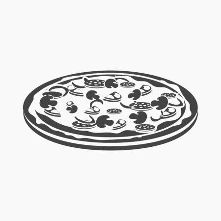 cheesy: Pizza vector illustration icon in simple design