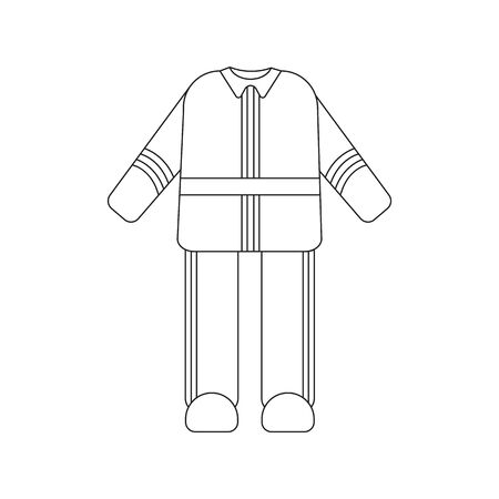 firefighter uniform: Firefighter uniform icon black style. Single silhouette fire equipment icon from the big fire Department line. Illustration