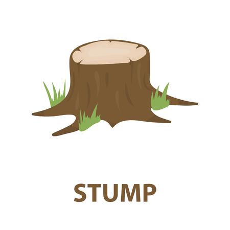 rings on a tree cut: Stump vector illustration icon in cartoon design Illustration