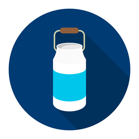 milk cans: Milk cans icon flat. Single bio, eco, organic product icon from the big milk collection.