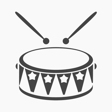Drum black icon. Illustration for web and mobile.