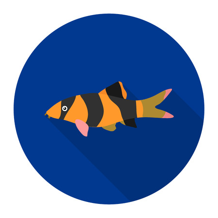 Botia clown Botia macracantha fish icon flat. Singe aquarium fish icon from the sea,ocean life flat. Illustration