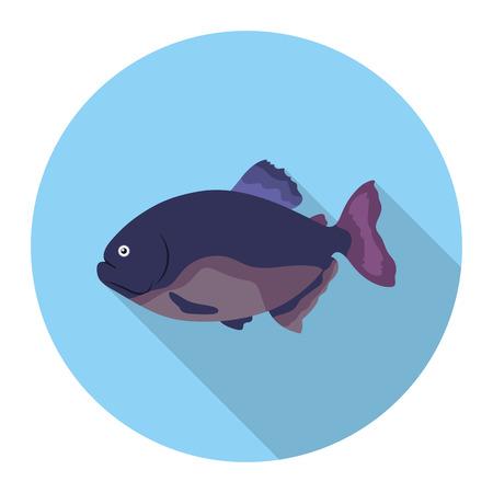 Piranha fish icon flat. Singe aquarium fish icon from the sea,ocean life flat.