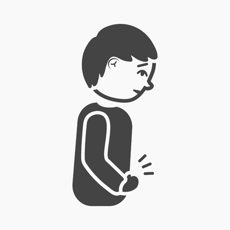Abdominal pain icon simple. Single sick icon from the big ill, disease simple.