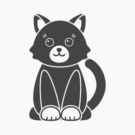 Cat black icon. Illustration for web and mobile.