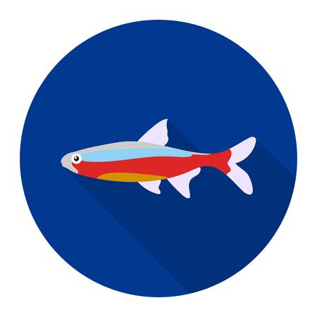 neon fish: Neon fish icon flat. Singe aquarium fish icon from the sea,ocean life flat.