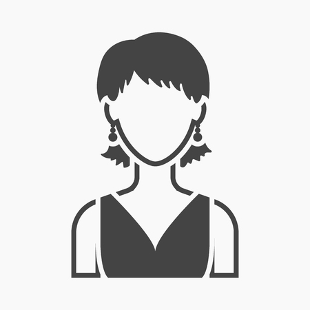 simple girl: Girl with earrings icon black. Single avatar,peaople icon from the big avatar simple.