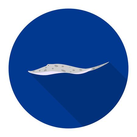 Stingray Motor Leopoldi fish icon flat. Singe aquarium fish icon from the sea,ocean life flat. Illustration