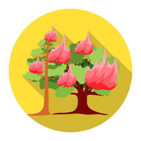 forest fire: Forest fire vector illustration icon in flat design