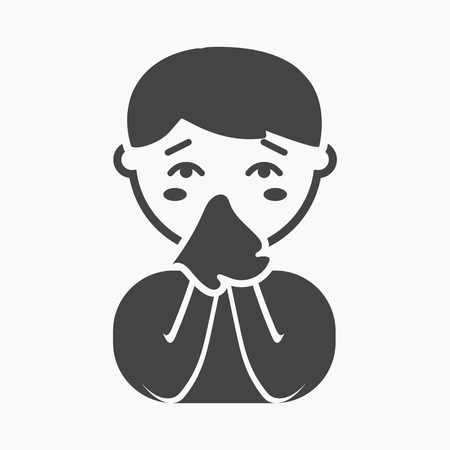 rhinitis: Running nose icon cartoon. Single sick icon from the big ill, disease simple.
