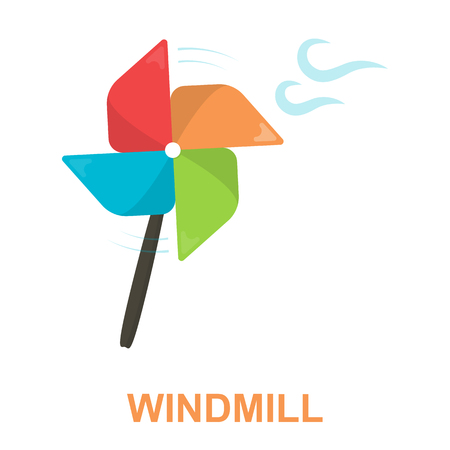 wind mill toy: Toy windmill cartoon icon. Illustration for web and mobile.