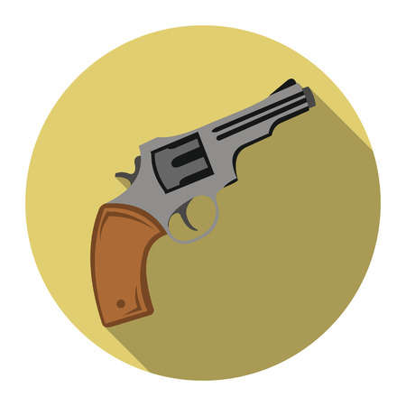 six gun: Revolver icon flat. Singe western icon from the wild west flat.