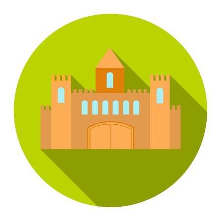 chateau: Castle icon cartoon. Single building icon from the big city infrastructure collection.
