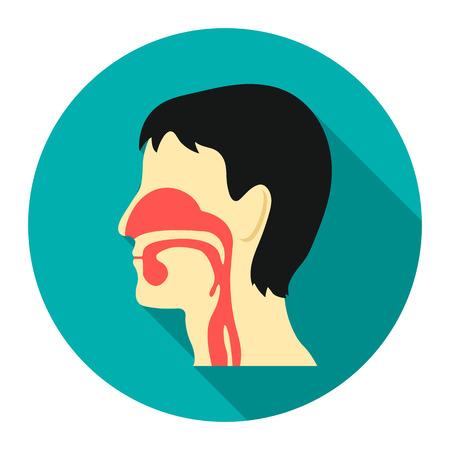 epiglottis: Respiratory system icon cartoon. Single medicine icon from the big medical, healthcare collection.